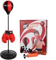 Kit boxe saco de pancada infantil bola punching ball kit com luvas e altura ajustável completo - Makeda