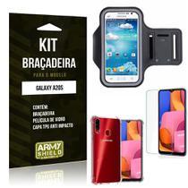 Kit Braçadeira Galaxy A20S Braçadeira + Capinha Anti Impacto + Película de Vidro - Armyshield -