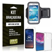 Kit Braçadeira Moto One Action Braçadeira + Capinha Anti Impacto + Película de Vidro - Armyshield -