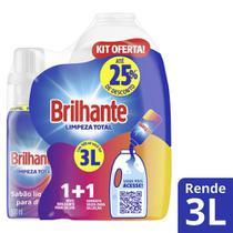 Kit Brilhante Garrafa para Diluição + Lava Roupas para Diluir Limpeza Total 500ml -