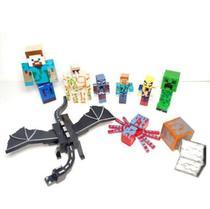 Kit Brinquedo Cartela Bonecos Minecraft E Itens 10 Peças -