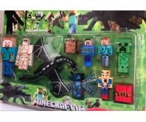 Kit brinquedo cartelado bonecos minecraft e itens 10 peças - Minecrafts