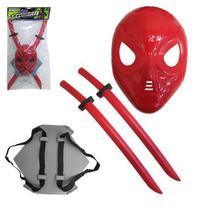 Kit Brinquedo Combate Ninja 2 Espadas com Suporte de Costa + Mascara - Lepastic