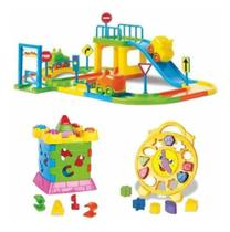 Kit brinquedo educativo infantil relógio, castelo e pista - Divplast