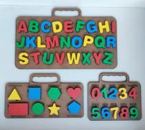 Kit Brinquedo Educativo Tabuleiro- Alfabeto/numero/formas Mdf e EVA - Medeiros Arte&Decor