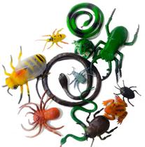 Kit Brinquedo Infantil 13 pçs Animais Insetos Cobra Abelha - Toy King