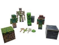 Kit Brinquedo infantil Cartela Bonecos E Itens 12 Peças do minecraft -