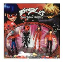 Kit Brinquedo infantil Cartela Com 4 Personagens Miraculous -