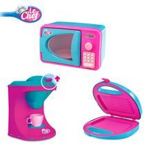 Kit brinquedos de cozinha cafeteira + microondas + sanduichera rosa usual - Usual Plastic