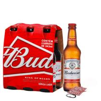 Kit Budweiser 330ml Pack (6 Unidades) + Abridor Bud -