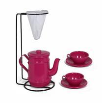 Kit Bule Com Suporte Para Coador + Mini Xícaras - Pink - Alumínios E Cia