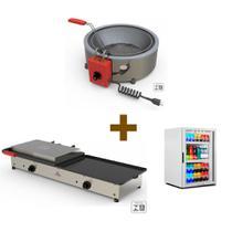 Kit Burger Elétrico - Prensa e Chapa Pr950e + Fritadeira Pr70el + Refrigerador Vb11 - 220v - Progas