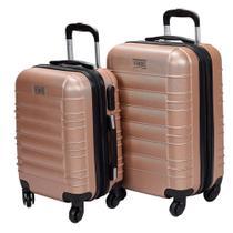 KIT C/ 02 MALAS - P(A55xL35xP25) e PP(A47xL33xP20 At 10 KG) Mala de Viagem 360 em Fibra CHX - Expansiva -