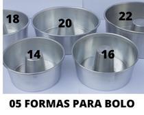 Kit C/05 Formas Bolo c/furo ( 14,16,18,20,22 cm) Aluminio - Re