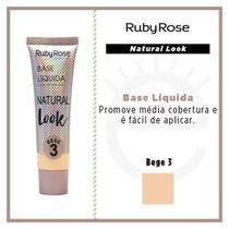 Kit c/ 06 unidades base liquida natural look bege 3 ruby rose -