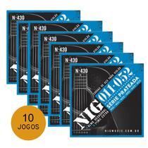 KIT C/ 10 Encordoamentos NIG N430 P/ Violão Aço 11/52 - EC0239K10 - Nig strings