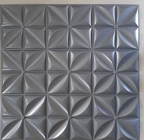Kit C/ 12 (3 mt2 ) Placas Revestimento Parede Alto Relevo Painel 3d Petalas Plus Cinza - Mas Lar