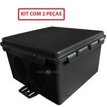 Kit C/ 2 Caixa Hermética Preta Plus 25x25x15cm Multiuso - Multitoc