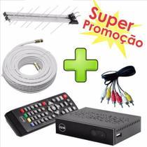Kit c/2 Conversor Digital Full HD + 2 Antena ext. + 16m Cabo- Keo K 900 Função Gravador - Intelbras