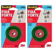 Kit c/2 Fita Dupla Face 19X2m Fixa Forte Quadros Espelhos - 3M