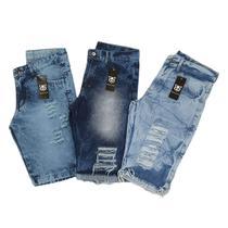 kit c/ 3 bermuda jeans masculina Rasgada Destroyed Oferta Ilimitada - Mania Do Jeans
