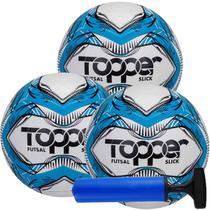 Kit C/ 3 Bolas Topper Slick Futsal Tech Fusion Impermeável + Bomba -