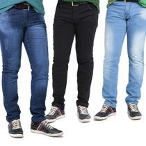 kit c/3 Calças Jeans Masculina c/Lycra super oferta limitada - Mania Do Jeans