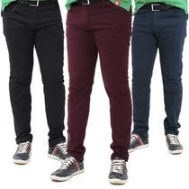 kit c/3 Calças Jeans Masculina com elastano Premium top oferta limitada - Mania Do Jeans