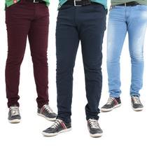 kit c/3 Calças Jeans Masculina com elastano Premium top oferta - Mania Do Jeans