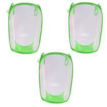 Kit C/ 3 Cesto Multiuso Dobrável Organizador Para Roupas E Brinquedos Verde - Universal Vendas