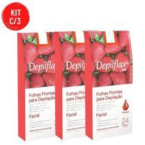 Kit C/ 3 Cx Folhas Prontas De Cera Para Depilação Facial Morango Depilflax -