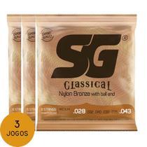 KIT C/ 3 Encordoamentos P/ Violão Nylon SG C/ Bolinha Tensão Média - EC0214K3 - Sg Strings