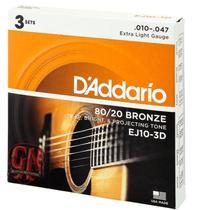 Kit c/3 encordoamentos violao aço ej10-3d - daddario - D'Addario