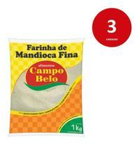 Kit C/3 Farinha De Mandioca Fina 1kg Campo Belo -