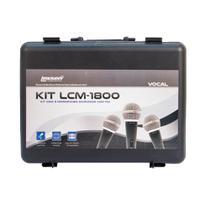Kit c/3 microfones c/fio supercardioides c/clip s/cabo - kit-lcm1800 - lexsen -