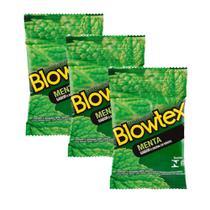 Kit c/ 3 Pacotes Preservativo Blowtex Menta c/ 3 Un Cada -