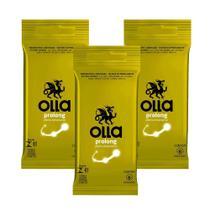 Kit c/ 3 Preservativo OLLA Lubrificado Prolong 6 unidades -