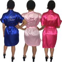 Kit c/3 Robe de Cetim Feminino Roupão Roby Kimono Bordado Personalizado - Superintima