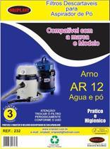 Kit c/3 Sacos Descartáveis Aspirador Arno Ar12 H2PO Água e Pó - Oriplast