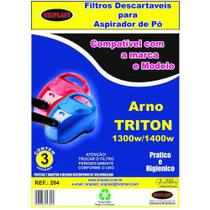 Kit c/3 Sacos Descartáveis Aspirador Arno Triton - Oriplast