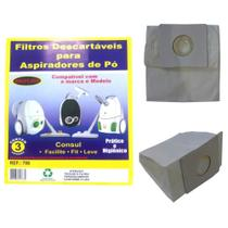 Kit c/3 Sacos Descartáveis Aspirador Consul Facilite/Fit/Leve - Oriplast