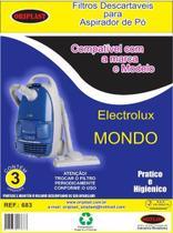Kit c/3 Sacos Descartáveis Aspirador Electrolux Mondo - Oriplast