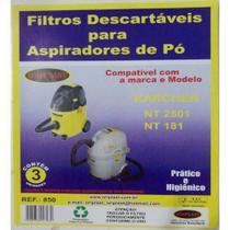 Kit c/3 Sacos Descartáveis Aspirador Karcher NT2501/NT181 - Oriplast