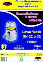 Kit c/3 sacos Descartáveis Aspirador Lavor Wash GN22 e 32 1100W - Oriplast