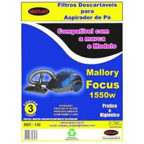 Kit c/3 Sacos Descartáveis Aspirador Mallory Focus 1550w - Oriplast