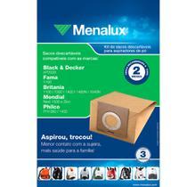 Kit c/ 3 Sacos Descartáveis Menalux p/ Aspiradores de Pó Black & Decker, Fama, Britânia, Mondial e Philco Original -