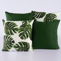 Kit c/ 4 Almofadas Cheias Decorativas Folha Verde - Dourados Enxovais