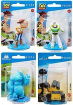 Kit c/ 4 Mini Figuras Disney Pixar - Woody, Buzz, Wall-E e Sulley - Mattel -
