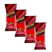 Kit c/ 4 Pacotes Preservativo Blowtex Morango c/ 6 Un Cada -