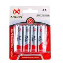 Kit c/4 Pilhas Recarregáveis AA de 2.600mAh Capacidade Mox Premium -